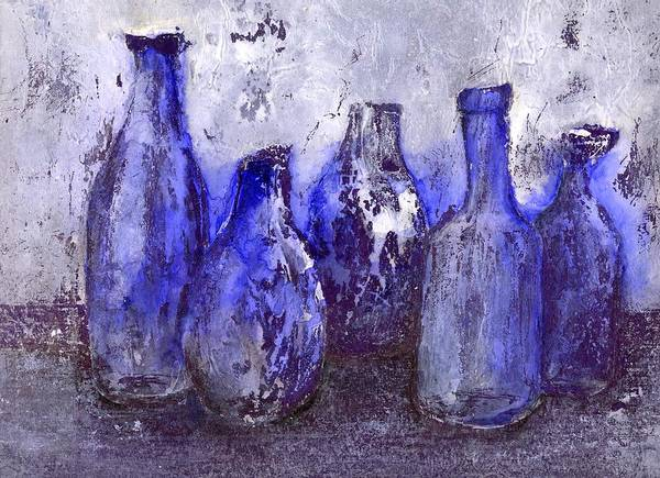Still Life Poster featuring the painting Blue Bottles by Agnes Trachet