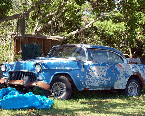Cars Poster featuring the photograph Blue Car On The Bayou by Heather S Huston