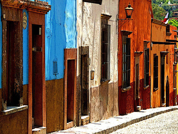 Darian Day Poster featuring the photograph Blue Casa Row by Mexicolors Art Photography