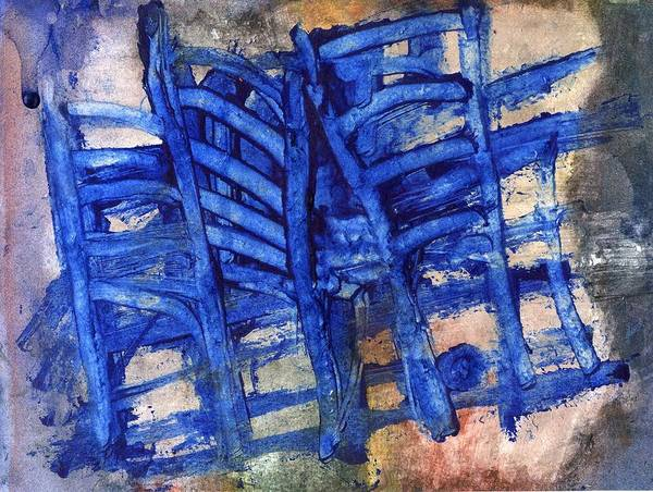 Chair Poster featuring the painting Blue Chairs by Agnes Trachet