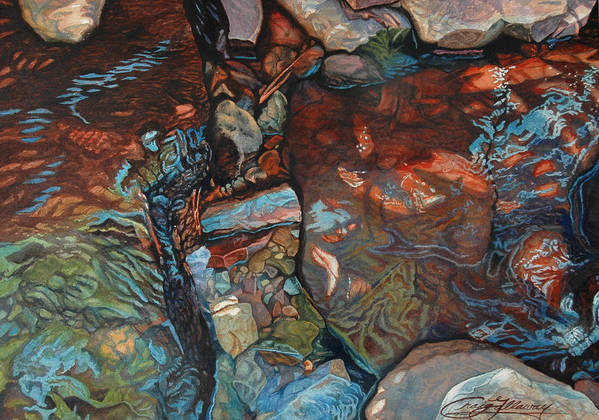 Rocks Poster featuring the painting Blue Current by Craig Gallaway