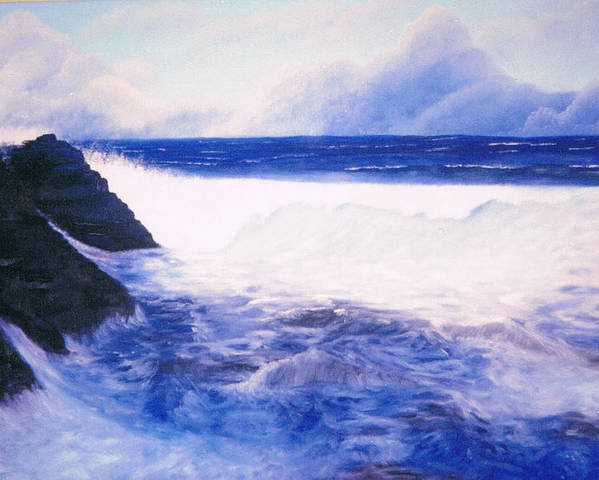 Sea Poster featuring the painting Blue Day by Brett McGrath