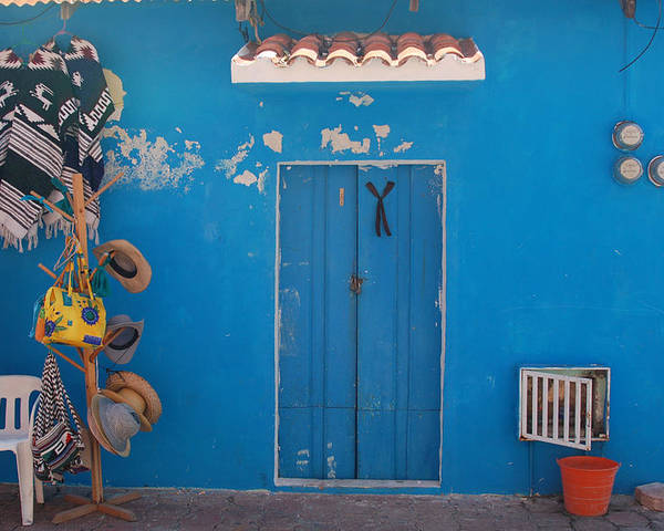 Doors Poster featuring the photograph Blue Doors In Mexico by Mary Pearson
