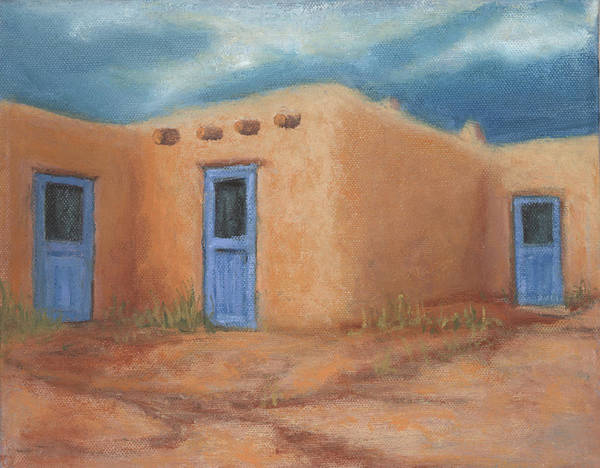 Taos Poster featuring the painting Blue Doors In Taos by Jerry McElroy