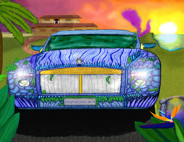 Hot Wheels Poster featuring the digital art Blue Dreamin' by Mike Dour