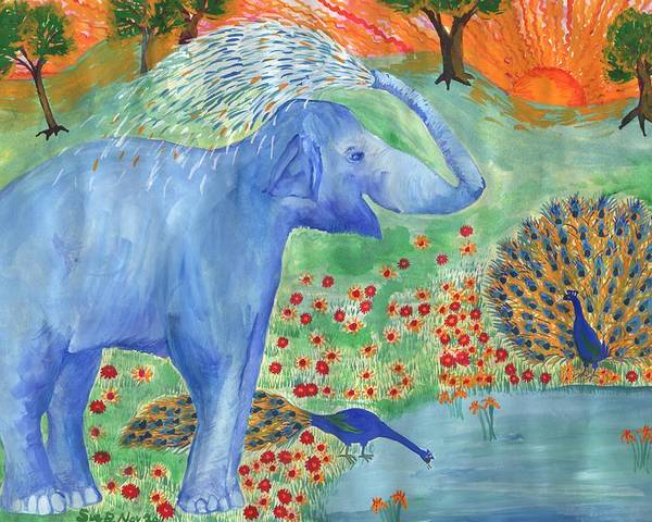 Elephant Poster featuring the painting Blue Elephant Squirting Water by Sushila Burgess