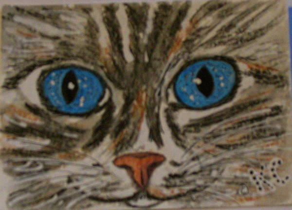 Blue Eyes Poster featuring the painting Blue Eyed Tiger Cat by Kathy Marrs Chandler