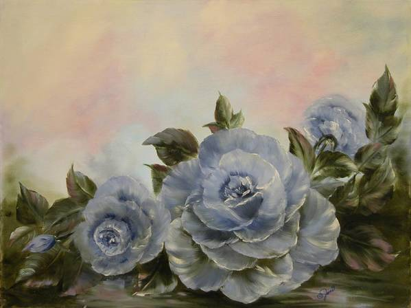 Floral Poster featuring the painting Blue Fantasy by Joni McPherson