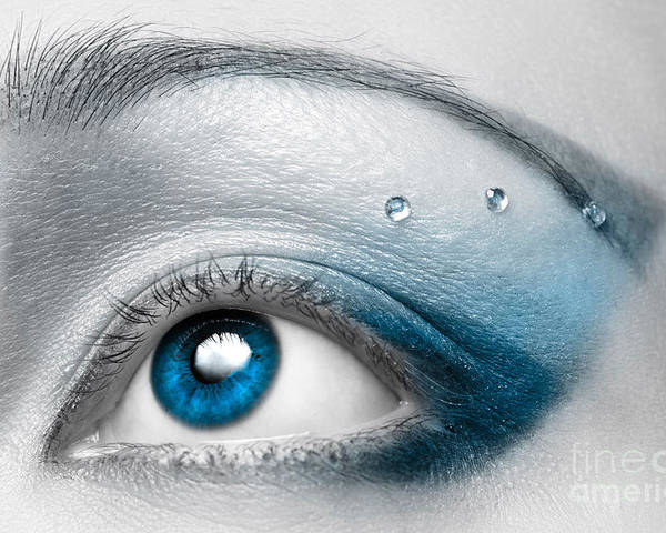 Eye Poster featuring the photograph Blue Female Eye Macro With Artistic Make-up by Oleksiy Maksymenko