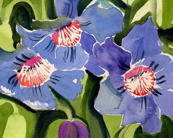Blue Poster featuring the painting Blue Floral by Janet Doggett