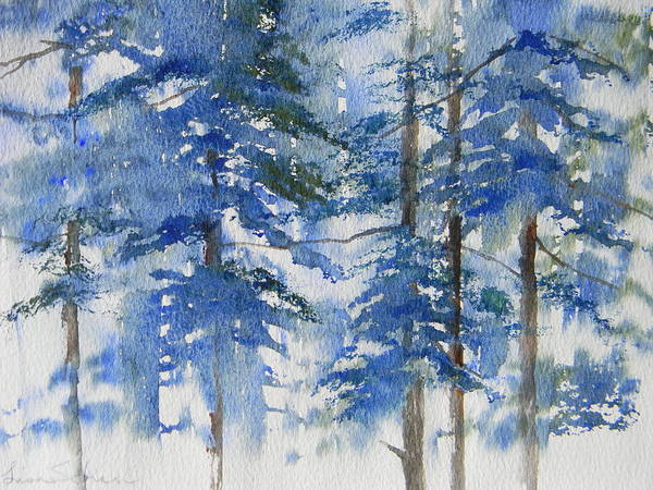 Pine Trees Poster featuring the painting Blue Forrest by Lisa Schorr