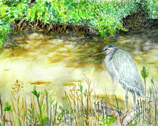 Bird Poster featuring the painting Blue Heron by Judy Riggenbach
