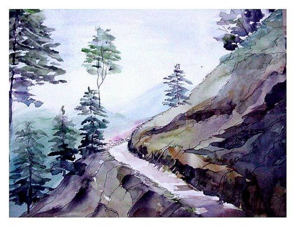 Landscape Poster featuring the painting Blue Hills by Anil Nene
