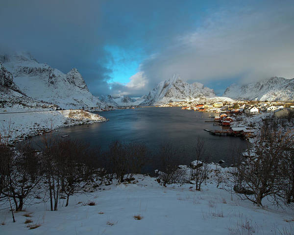 Blue Hour Poster featuring the photograph Blue Hour Over Reine by Dubi Roman