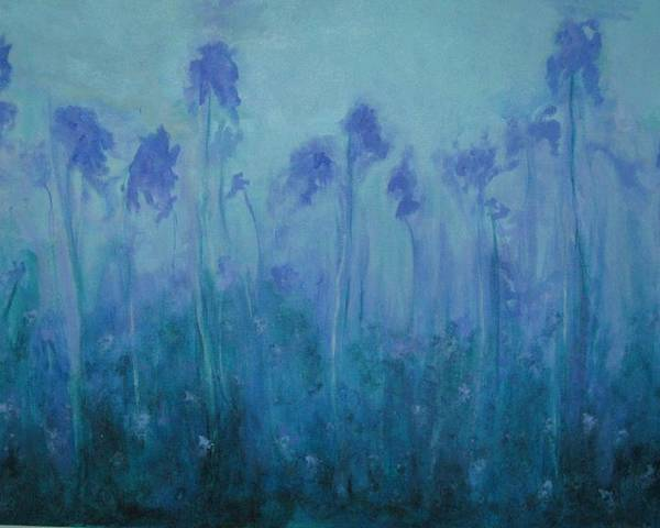 Blue Iris Poster featuring the painting Blue Iris by Sheryl Sutherland