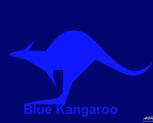 Poster featuring the digital art Blue Kangaroo by Asbjorn Lonvig