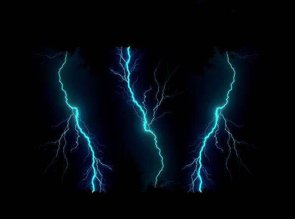 Lightning Poster featuring the photograph Blue Lightning by Garrett Griffin