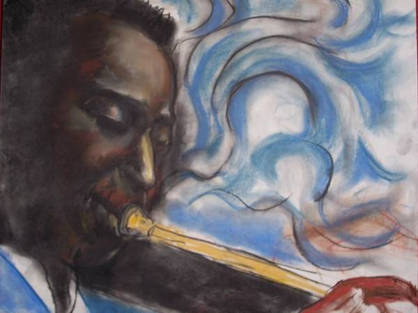 Miles Davis Poster featuring the print Blue Miles by Darryl Hines