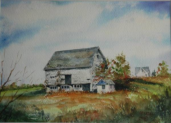 Landscape Poster featuring the painting Blue Milkhouse by Mike Yazel