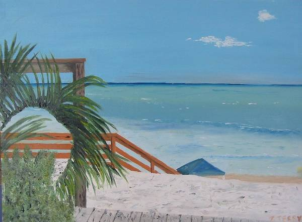 Seascape Poster featuring the painting Blue Mountain Beach Dune by John Terry