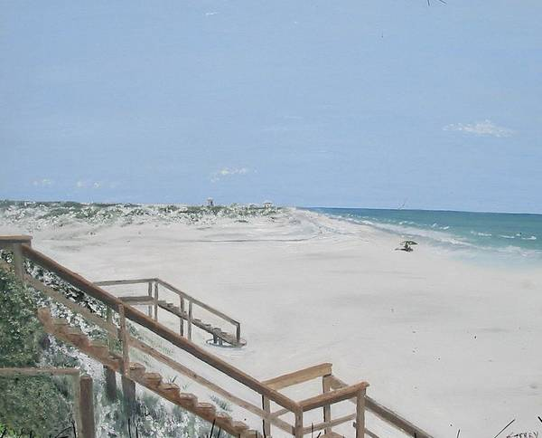 Seascape Poster featuring the painting Blue Mountain Beach II by John Terry