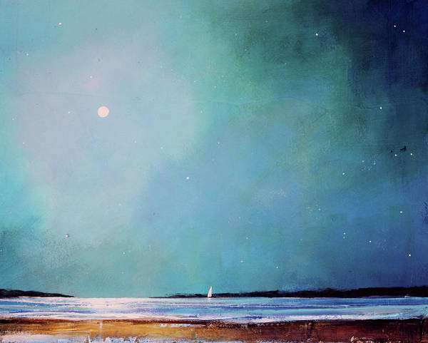 Seascape Poster featuring the painting Blue Night Sky by Toni Grote
