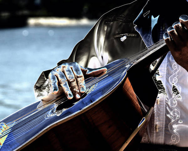 Guitar Poster featuring the digital art Blue Notes by Lyle Huisken