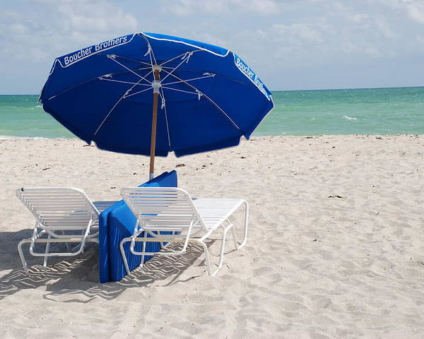 Sea Scape Poster featuring the photograph Blue Paradise Umbrella by Rob Hans