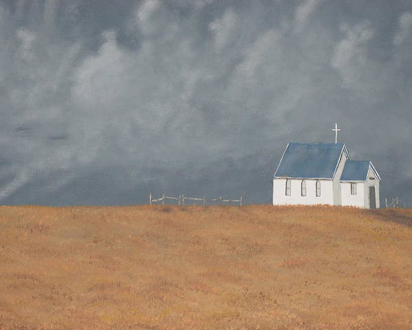 Church Poster featuring the painting Blue Plains Church by Candace Shockley