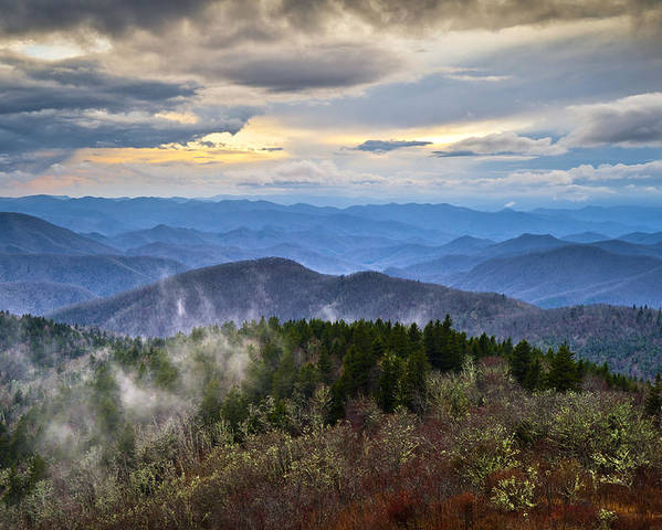 Blue Ridge Parkway Poster featuring the photograph Blue Ridge Parkway Scenic Landscape Photography - Blue Ridge Blues by Dave Allen