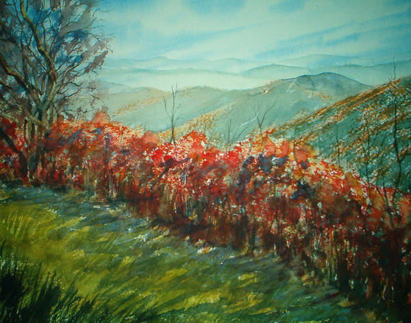 Landscape Poster featuring the painting Blue Ridge Parkway by Shirley Braithwaite Hunt