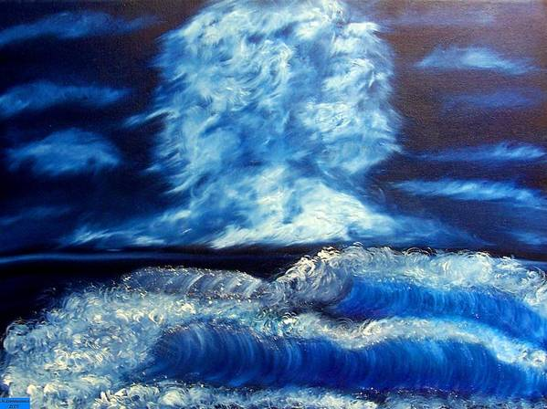Seascape Poster featuring the painting Blue Sea by Marie Lamoureaux