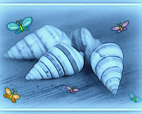 Shell Art Poster featuring the photograph Blue Seashells by Linda Sannuti
