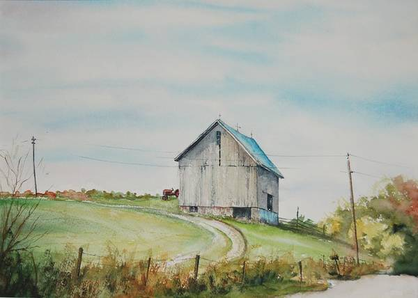 Landscape Poster featuring the painting Blue Skies by Mike Yazel