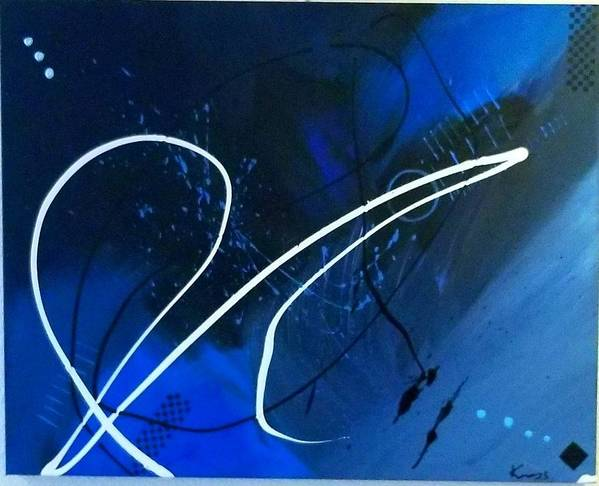 Blue And Black Abstract Art Poster featuring the painting Blue Speed by Keeops