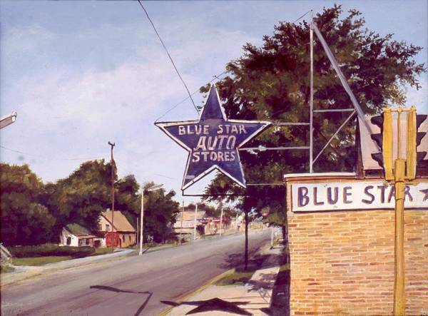 Landscape Harvey Illinois Poster featuring the painting Blue Star Auto by William Brody