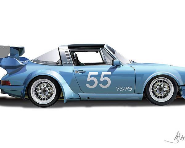 Porsche Owners Club Poster featuring the digital art Blue Targa by Alain Jamar