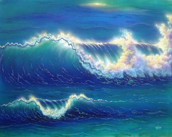 Seascape Poster featuring the painting Blue Thunder by Angie Hamlin