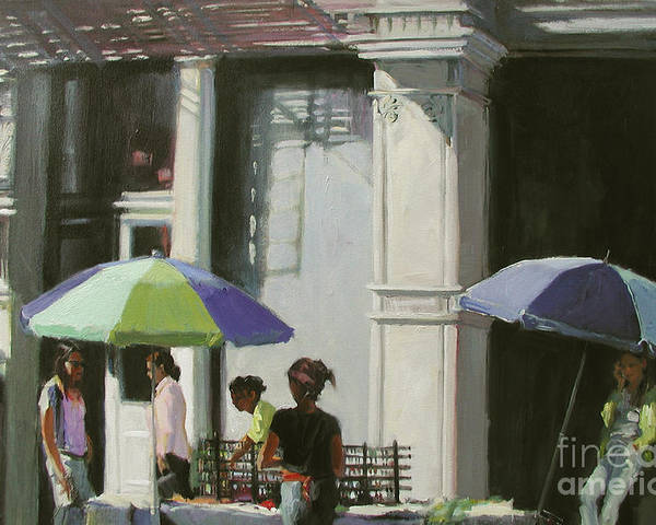 City Poster featuring the painting Blue Umbrellas by Patti Mollica