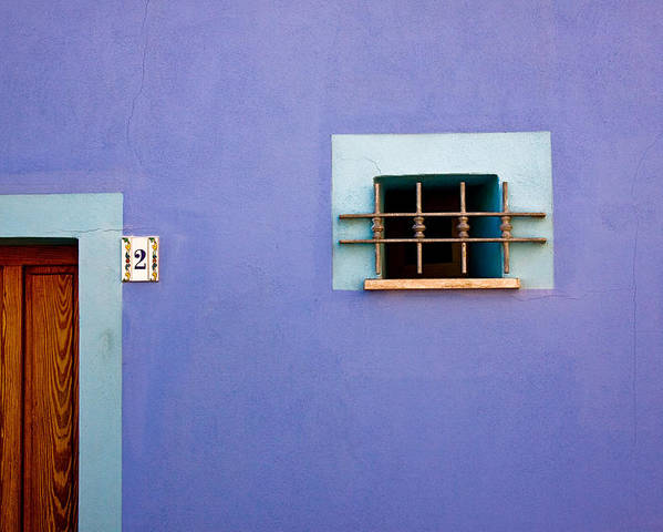 Alghero Poster featuring the photograph Blue Wall Window And Door by John Daly
