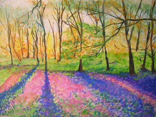 Landscape Poster featuring the painting Bluebell Wood by Lizzy Forrester