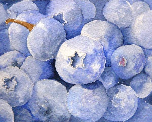 Fruit Poster featuring the painting Blueberries by Dorothy Nalls
