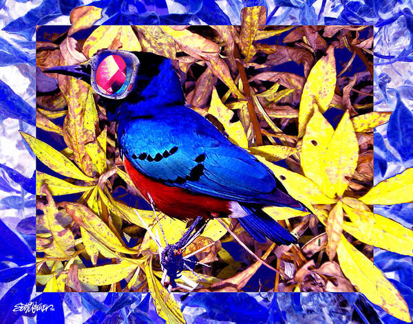 Bluebird Of Happiness Poster featuring the digital art Bluebird of Happiness by Seth Weaver