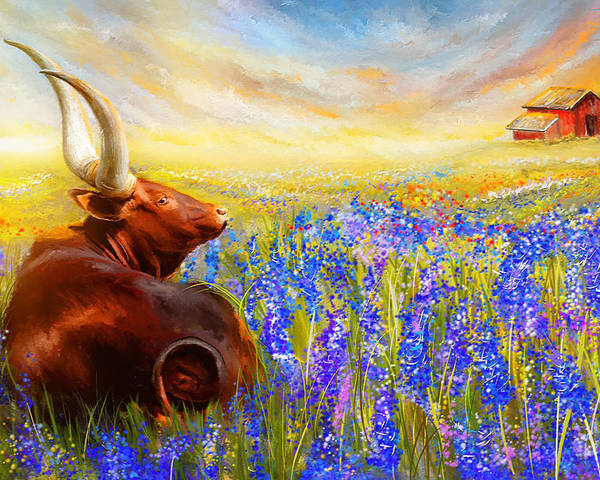 Texas Longhorn Poster featuring the painting Bluebonnet Dream - Bluebonnet Paintings by Lourry Legarde