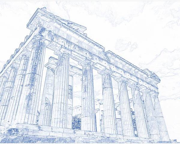 Blueprint drawing of greece palace parthenon iconic ruins poster by drawing poster featuring the painting blueprint drawing of greece palace parthenon iconic ruins by celestial images malvernweather Images