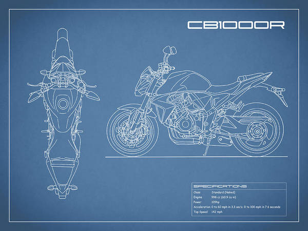 Blueprint Of A Cb1000r Motorcycle Poster By Mark Rogan