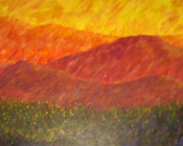 Landscape Hills Mountains Bright Poster featuring the painting Blur by Sally Van Driest