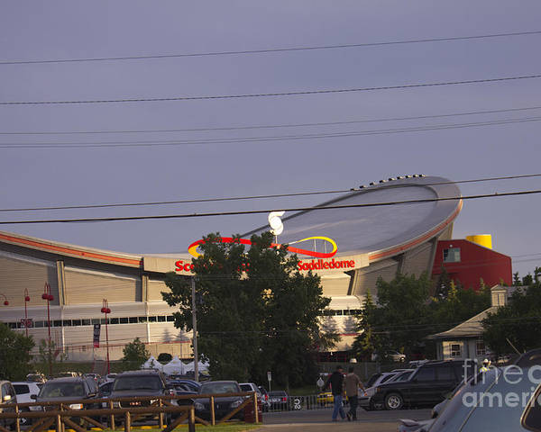 Saddledome Poster featuring the photograph Bmo Parking Royal Event by Donna Munro