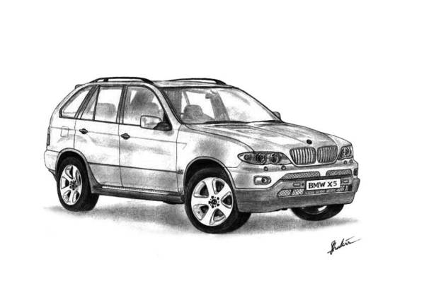 Bmw Poster featuring the drawing Bmw X5 by Shak Sam