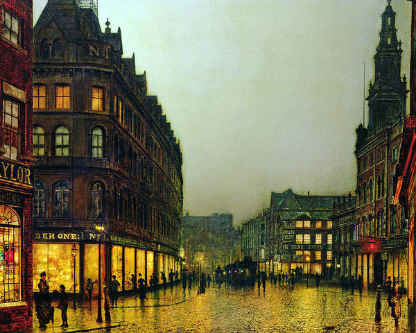 Boar Lane Poster featuring the painting Boar Lane by John Atkinson Grimshaw